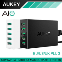AUKEY 5 Ports Desktop USB Charger 50W 10A With AlPower Tech For IPhone IPads IPod Samsung