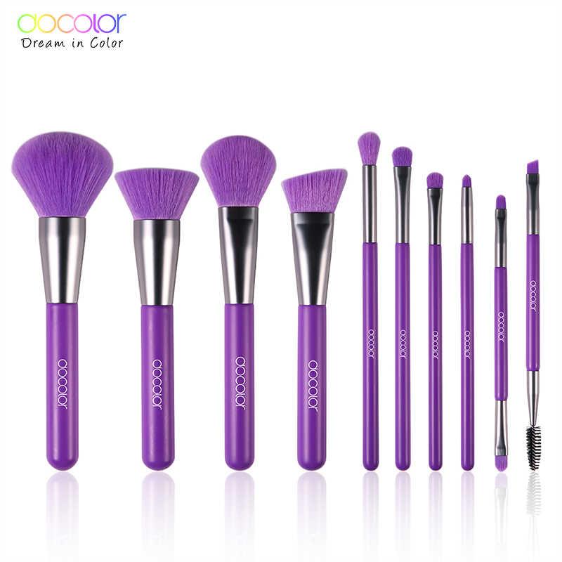 Docolor 10 piezas maquillaje profesional de los cepillos en polvo Fundación de sombra de ojos pinceles de maquillaje de pelo sintético de cosméticos de cepillo