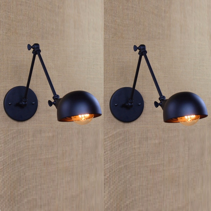 2pcs Vintage Wall Lamp Lights Adjustable Loft Sconce Lighting Fixtures for Bedside Corridor Library Living Room