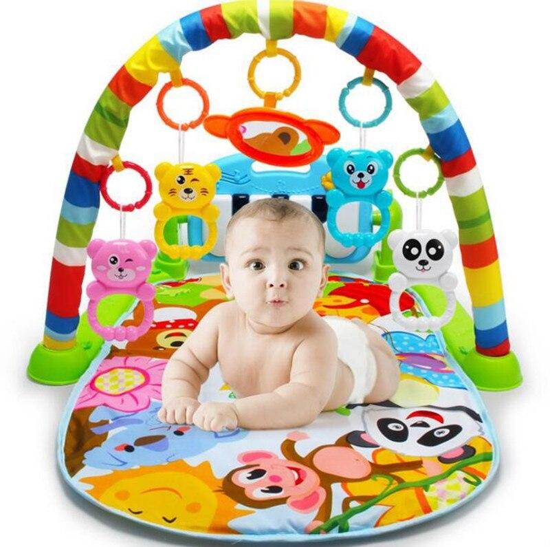 Multifonction doux bébé jouer tapis activité Piano pédale Fitness cadre musique lit cloche payer Gym jouet plancher ramper couverture carpe jouet cadeau