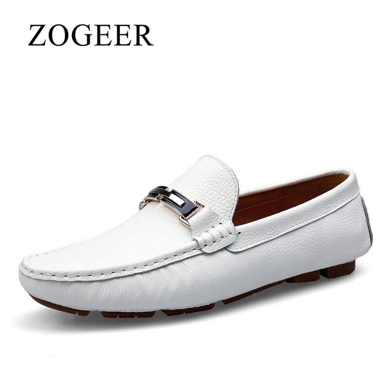 Sko Mænd, Ægte Læder Stor Størrelse 35-46 Man Loafers, Forår Komfortabel Designer Slip On White Shoes Herre, ZOGEER Brand