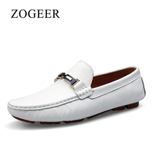Shoes Men, Genuine Leather Big Size 35-46 Man Loafers, Spring Comfortable Designer Slip On White Shoes Mens, ZOGEER Brand