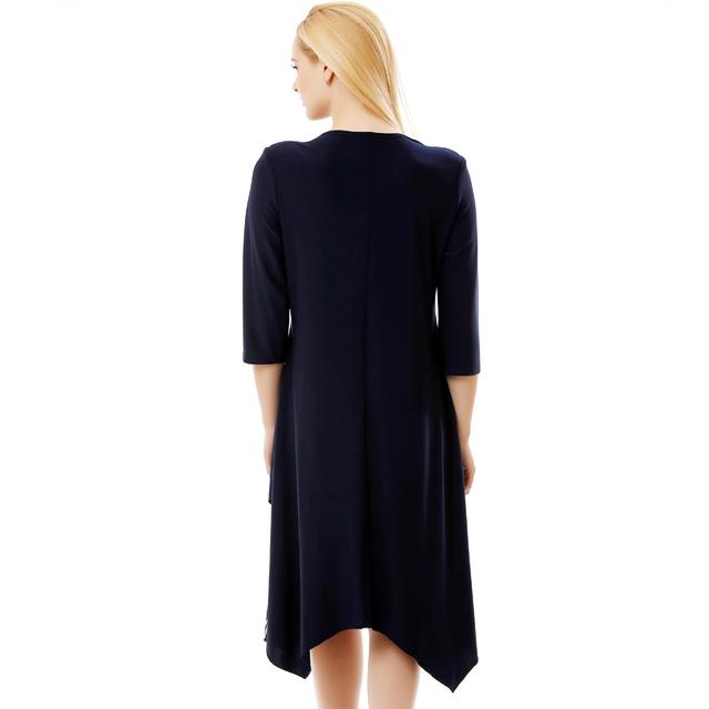 BFDADI New Arrival 2016 Women Retro Casual Loose A-Line Dress 3/4 Sleeved Splicing Irregular hem Big size dress xl-6xl 7-3580