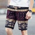 Hombres pantalones cortos de verano 2017 nueva primavera casual masculina cortocircuitos de la flor de la manera adolescente niños pantalones cortos de algodón estudiante