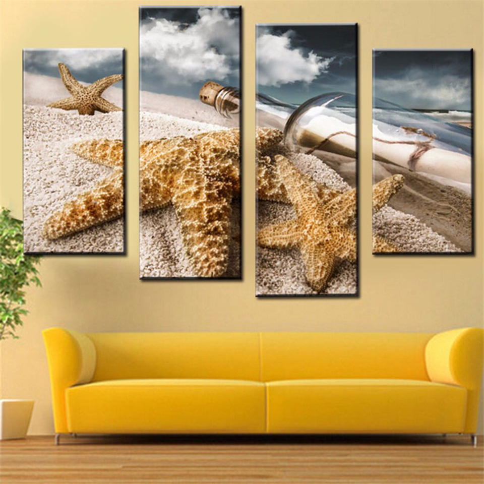 Canvas Living Room Pictures Home Decor 4 Panel Sea Star And Bottle ...