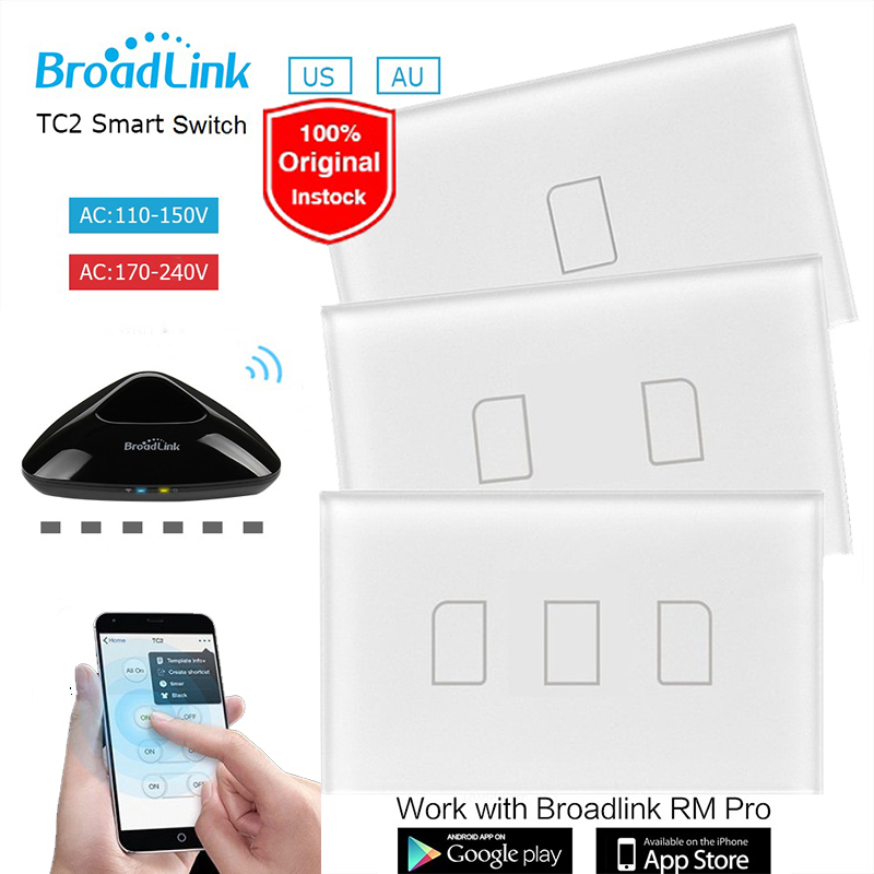 Broadlink TC2 US/AU 1 2 3 Gang Wifi Remote Control Led Light Switch 110~240V Touch Panel Wireless Home Automation via RM2 RM Pro original broadlink tc2 us tc2 touching 1gang panel wifi switch ios android wireless remote light controller 170v 240v smart home