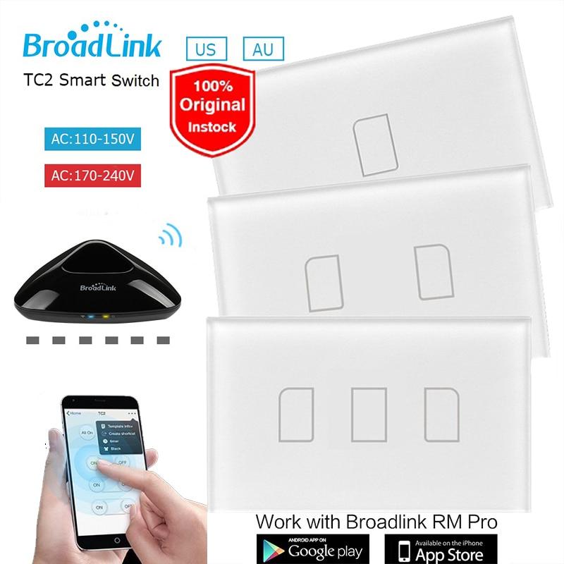imágenes para Broadlink tc2 ee. uu./au 1 2 3 gang control remoto wifi led Interruptor de la luz 110 ~ 240 V Panel Táctil Domótica Inalámbrica vía RM2 RM Pro