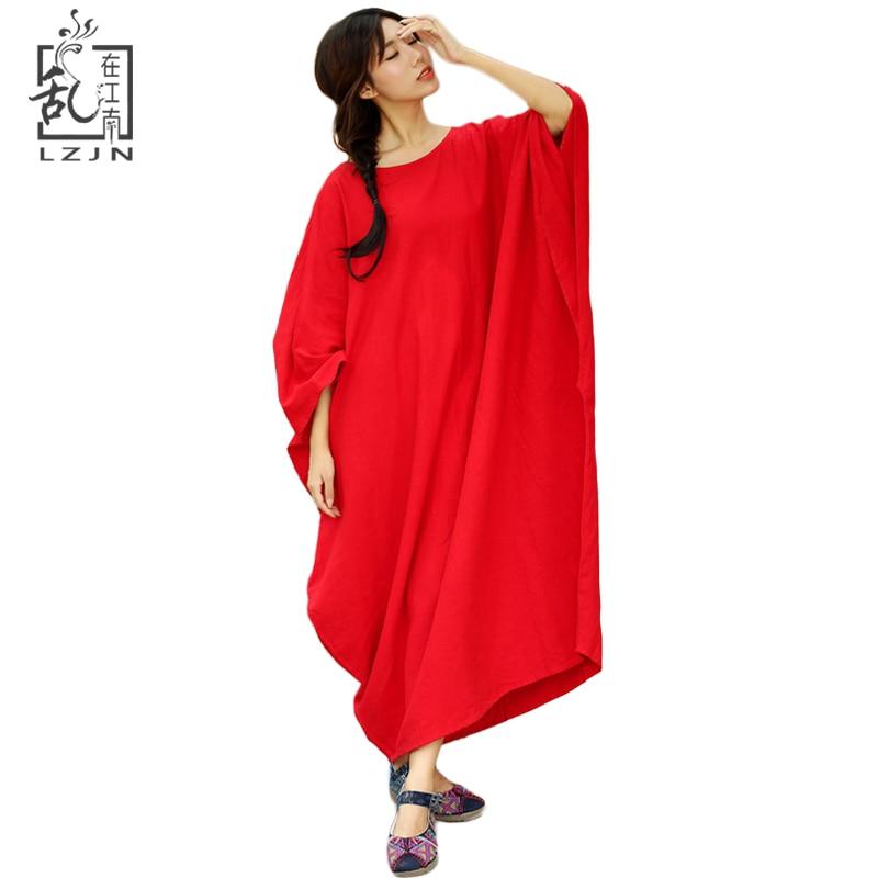 1683ead4d24 LZJN плюс Размеры белье женское платье шею свободный халат 3 цвета длинное  платье удобная туника с