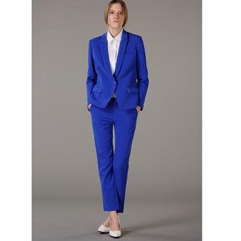 formal pants suits women Ladies Suit Blue Lapel Ladies Business Set Custom Royal Style Set Made