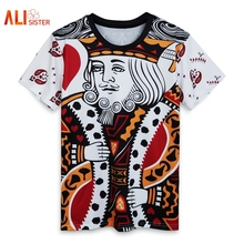 Men Women Playing Cards Print 3d T Shirt Harajuku Summer Style Hip Hop T-Shirt Clothes Camisa Masculina Size King Poker T Shirts(China)