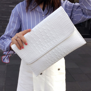 Image 1 - Women Envelope Evening Clutch Bags White Crocodile Pattern Female Genuine Leather Shoulder Bags Crossbody Purses & Handbags A121