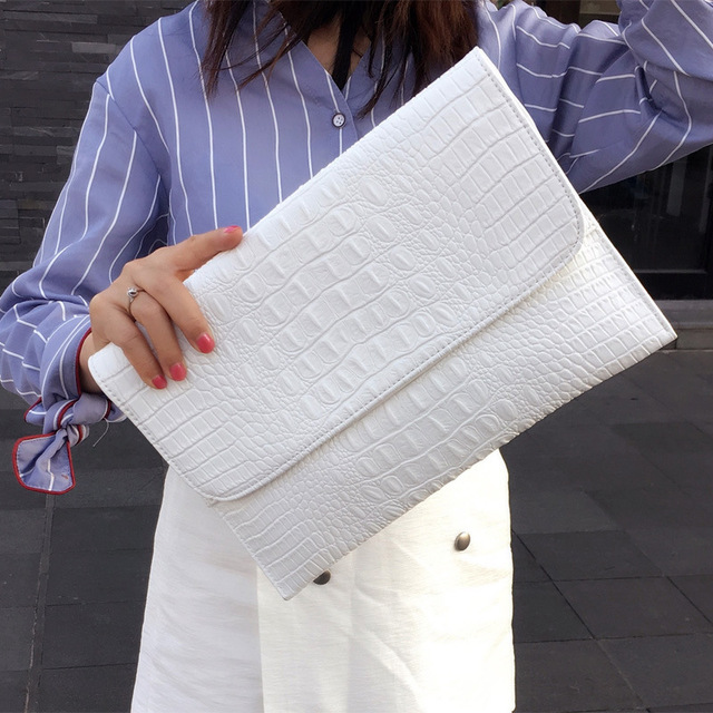 Women Envelope Evening Clutch Bags White Crocodile Pattern Female Genuine Leather Shoulder Bags Crossbody Purses & Handbags A121