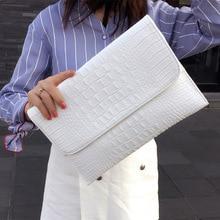 Women Envelope Evening Clutch Bags White Crocodile Pattern F
