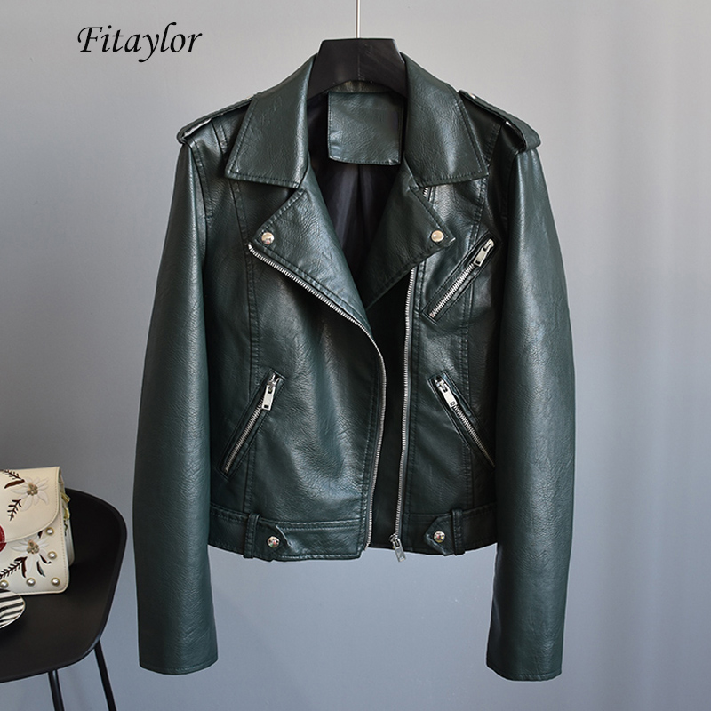 Fitaylor 2019 Spring Women Faux Soft   Leather   Jacket Coat Black Green Rivet Zipper Jacket Motorcycle Pu   Leather   Punk Outerwear