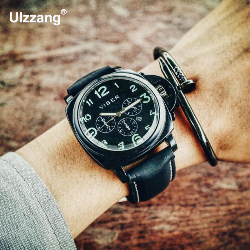 2018 Luxury Casual Mens Watches Military Quartz Sports Wristwatch Leather Strap Male Clock watch relogio masculino Big Dial Hour longbo men military watches complex big dial leather strap wristwatch male outdoor sports quartz watch life waterproof uhren men