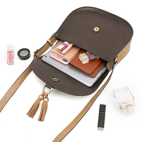 "ECOSUSI Women 10"" Saddle Bags PU Leather Messenger Bags Women Crossbody BuckleBags With Tassel Female Crossbody Bags Clutch Bag Karachi"