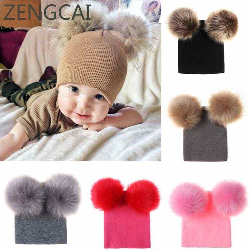Baby Beanie With Faux Raccoon Fur Pom Pom Hat Kids Wool Hats Children  Skullies Beanies Cap 810fedb71781