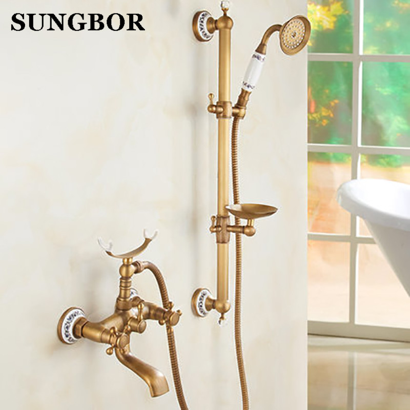 Antique Brushed Brass Bathroom Faucet Bath Faucet Mixer TaP Wall Mounted Hand Held Shower Head Kit Shower Faucet Sets HF-6656F antique red copper handheld shower head bath tub mixer tap wall mounted bathroom dual cross handles faucet wtf803