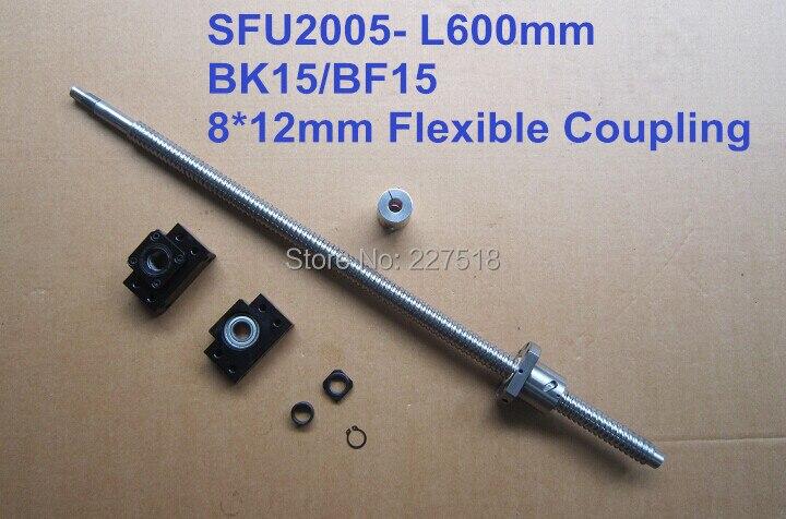 ФОТО 2005 ball screw L 600mm+ SFU2005 METAL DEFLECTOR Ballscrew nut + BK15 BF15 support +  coupler