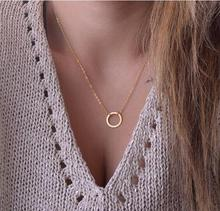 2017 New Brushed Forever Circle Pendant Necklaces For Women Alloy Fashion Long Chain Geometric Classic Round Necklace Party Gift