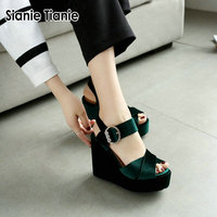 Sianie Tianie 2019 summer velour velvet green open toe platform wedges sandals for woman buckle strap women gladiator sandals