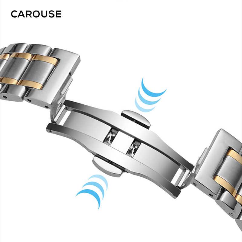 Cinturino in acciaio inossidabile Carouse 13mm 14mm 16mm 18mm 20mm 22mm 24mm cinturino in metallo cinturino a maglie cinturino nero argento oro rosa