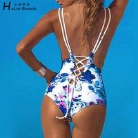 New Blue And White Printing One Piece Swimsuit Women Swimwear Monikini Bathing Suit Beachwear Bandage Trikini