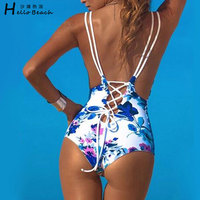 New Blue And White Printing One Piece Swimsuit Women Swimwear Monikini Bathing Suit Beachwear Bandage Trikini