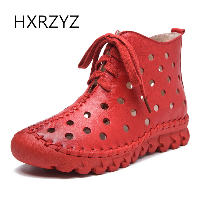 HXRZYZ women ankle boots handmade genuine leather boots 2017 summer new fashion hollow out breathable lace-up women flat shoes front lace up casual ankle boots autumn vintage brown new booties flat genuine leather suede shoes round toe fall female fashion