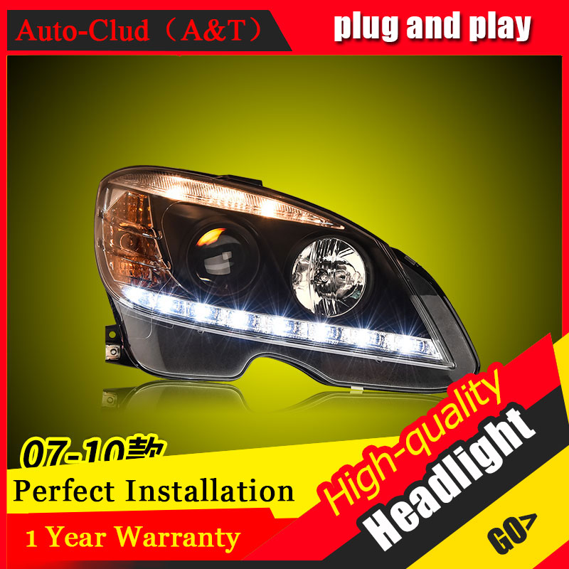 Auto Clud Car Styling For Benz W204 headlights 07-10 For W204 head lamp led DRL front Bi-Xenon Lens Double Beam HID KIT auto clud style led head lamp for benz w163 ml320 ml280 ml350 ml430 led headlights signal led drl hid bi xenon lens low beam