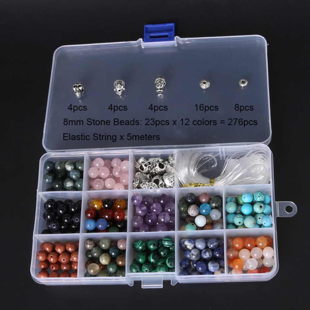 Đá tự nhiên Vòng DIY Hạt Kit đối Bracelet Lập, bao gồm Phật & Skull hạt & Chuỗi Đàn Hồi & Beadings Hộp