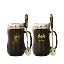 Avengers Coffee Mug Batman Tea Cup Cartoon Milk Super Man America Capatian Cups and Mugs with Spoon Cover