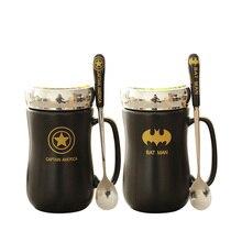 Neue Avengers Keramik Cartoon Milch Kaffee Tasse mit Löffel Abdeckung