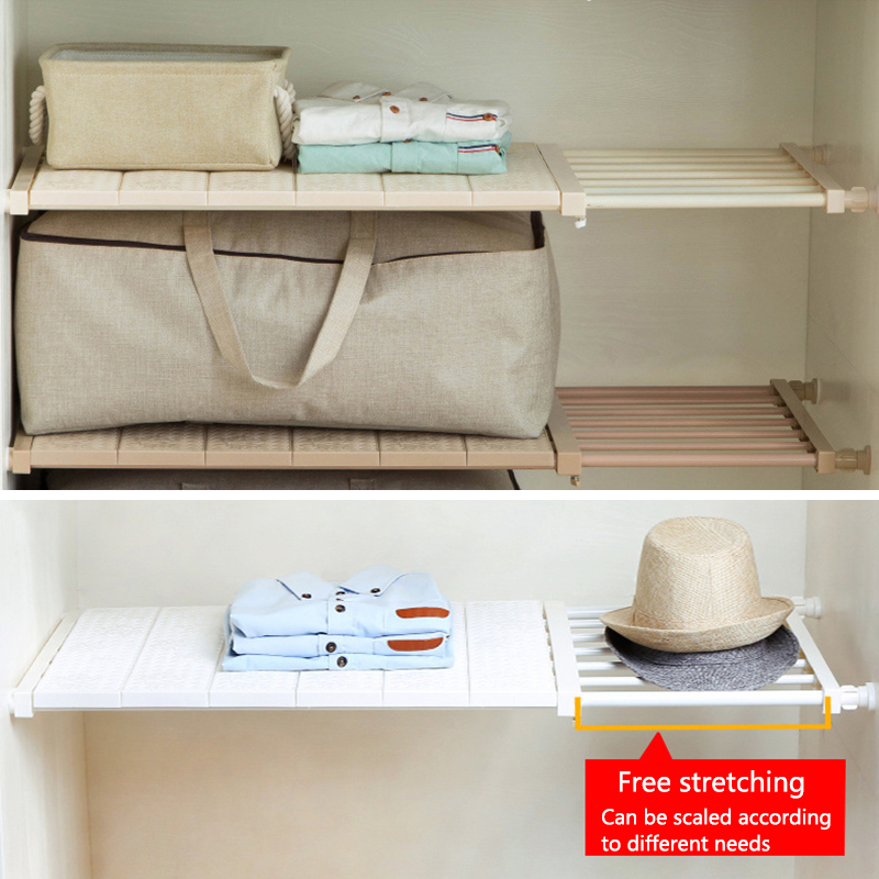 Adjustable Closet Organizer Storage Shelf Wall Mounted Kitchen Rack Space Saving Wardrobe Decorative Shelves Cabinet Holders 1pc