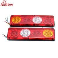 2pcs Yellow RED Car Rear Tail Lights Lamp Brake Stop Light For Trailer Caravan Truck Lorry
