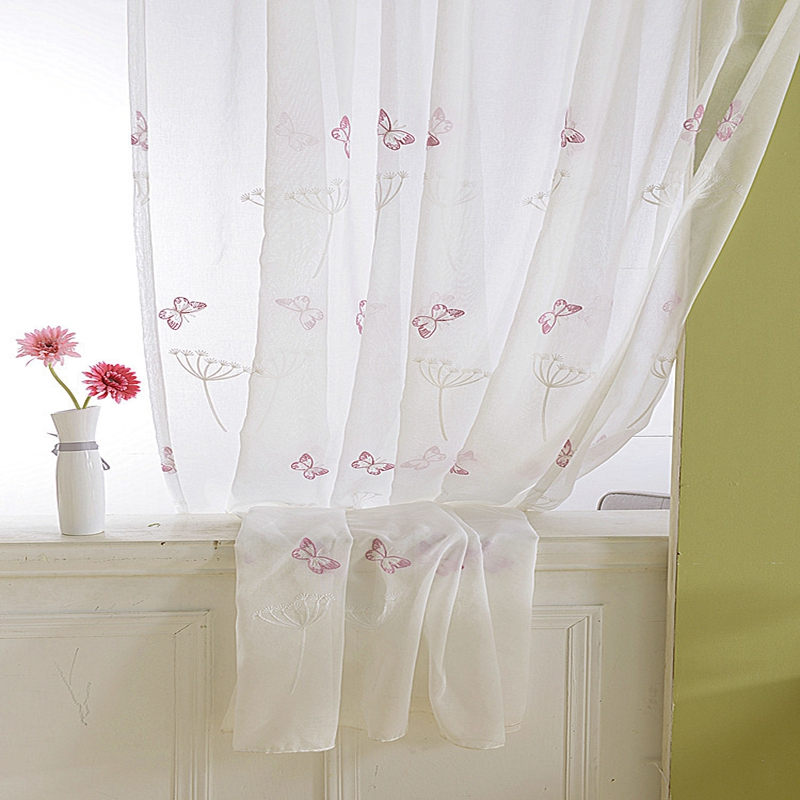 Pastoral Embroidered Window Sheers Drapes White Dandelion Tulle For Windows Pink Butterfly Curtains For Living Room