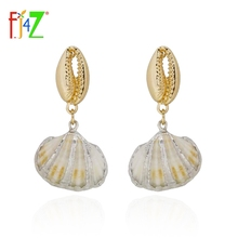 F.J4Z New arrival Fashion Design the voice of sea Earrings nature shell pendant  Dangle Earrings For Women party show zoziri solid silver nature shell earrings luxury brand monaco art desisgn nature mother of pearl shell tessels long earrings