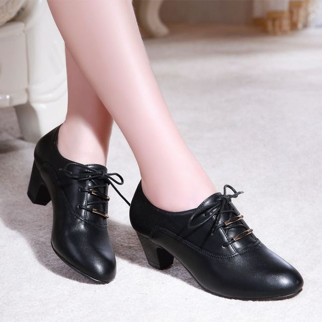 Lace Up Pumps Shoes Women Spring Fall Deep-mouth Shoes Soft Women High Heels Career Shoes