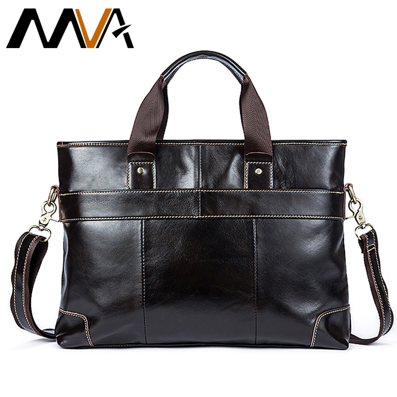MVA Leather Laptop Bag Briefcase Male Genuine Leather Handbags Tote Men Messenger Bags Business Briefcases Bag Men For Documents