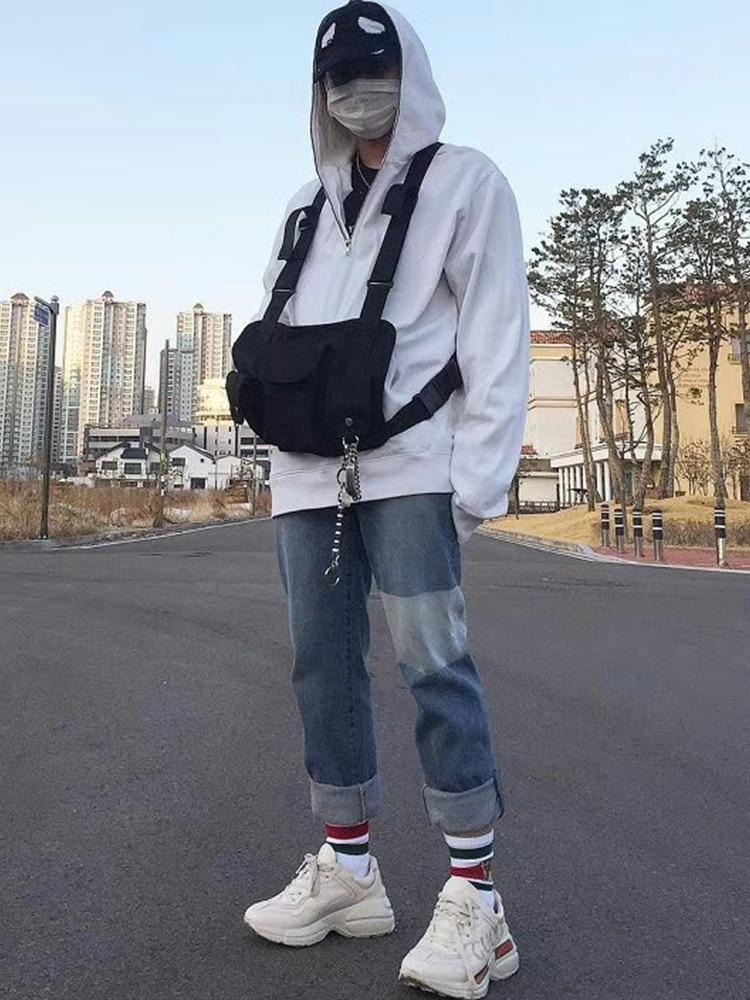 Dark Icon Multi Function 3 Pockets Vest Men Women 2019 New Fashion Best Match Hip Hop Men's Vest Streetwear Black Bright And Translucent In Appearance