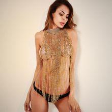 Women Gold Metal Crystal Diamonds Chain Tassel