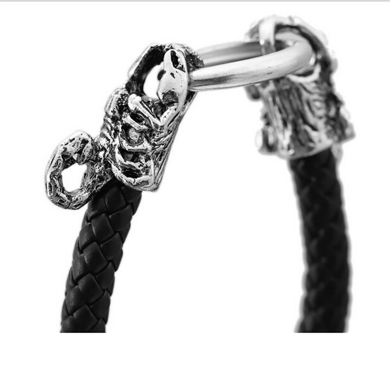 HSIC 10pcs/lot Wholesale Punk Leather Skull Tiger Snake Head Dragon Scorpion Bracelets Bangles Buckle Bracelet Men Jewelry 10020