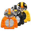 Baby cotton-padded jacket 2016 winter male children's child clothing child color block decoration thickening plus velvet hoody