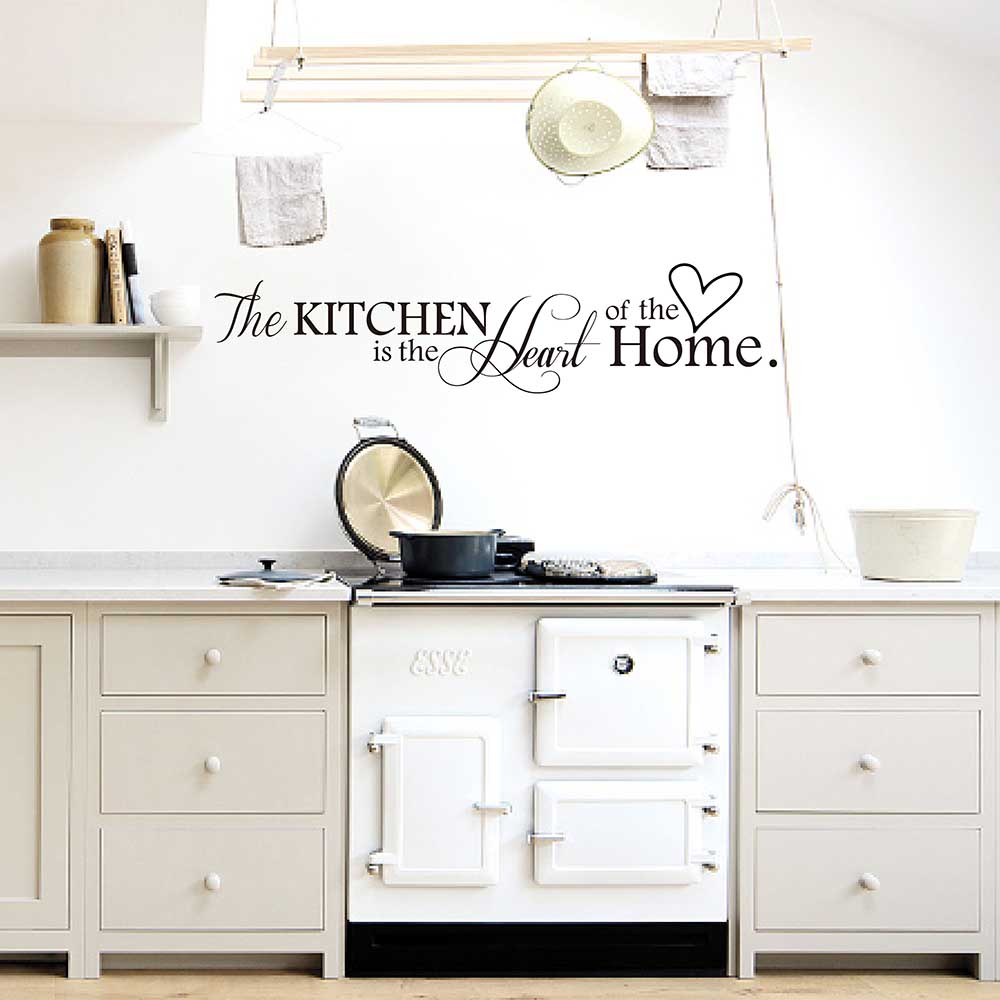 The Kitchen is the Heart of the Home Quote Decal Kitchen Wall Sticker Dining Room Wall Decor 794Q