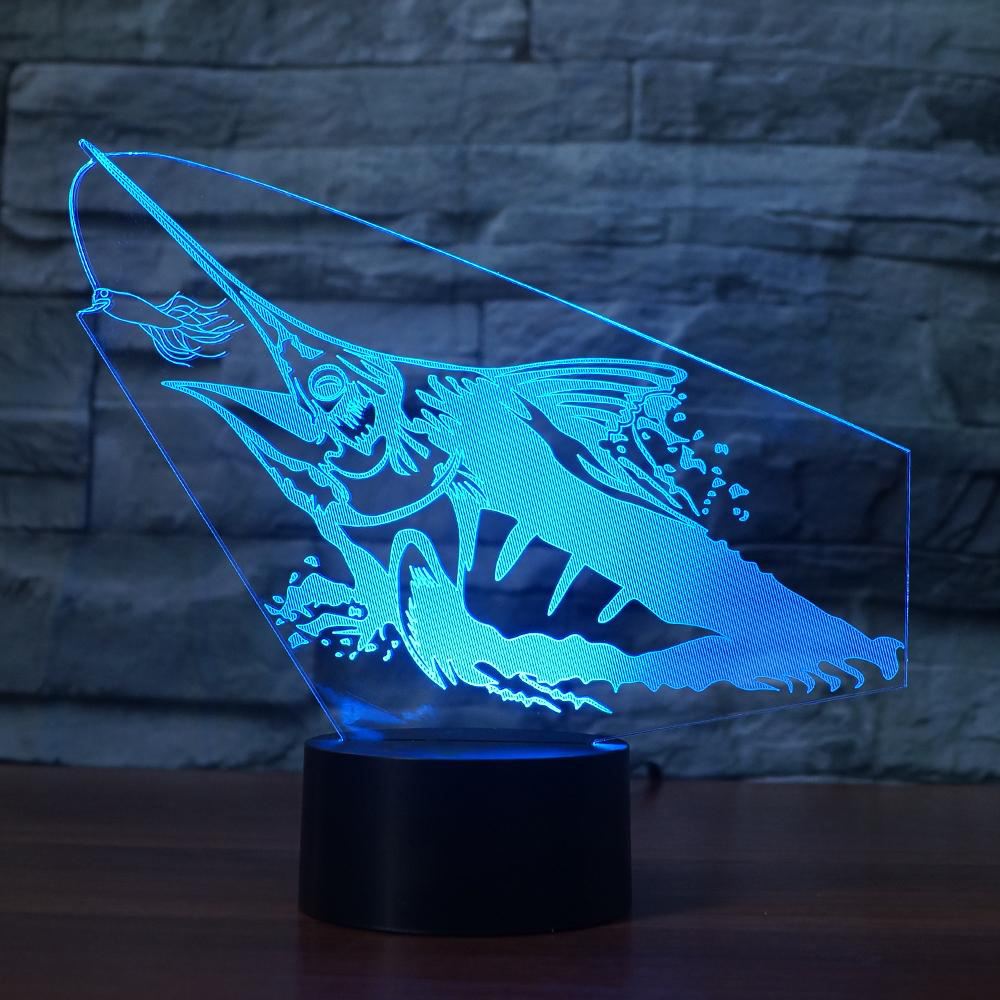 2019 Latest Design 7 Colors Creative 3d Led Christmas Gifts Spear Fishing Bedroom Study Table Lamp Fish Night Light Sleep Atmospheres Light Fixture Excellent In Quality