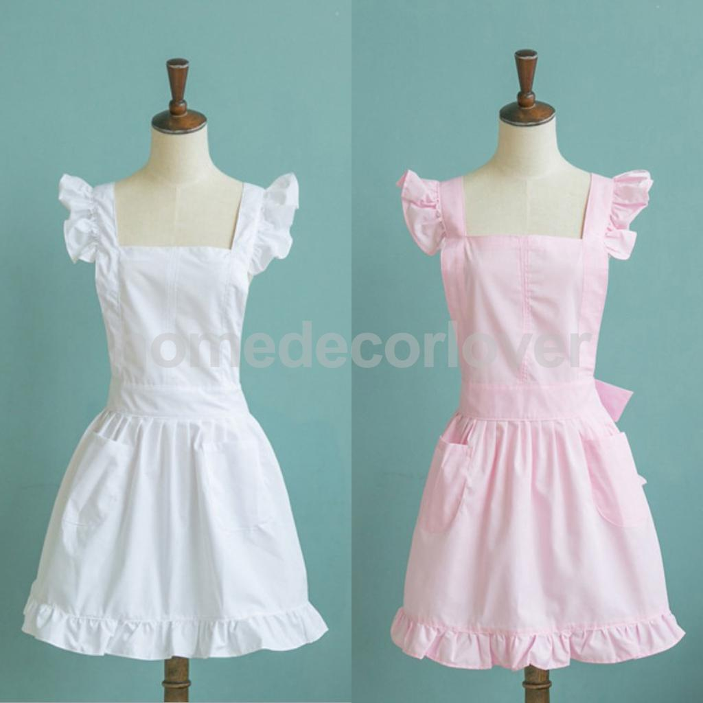 Victorian Pinafore Apron Maid Lace Smock Costume Ruffle Pockets White/Pink ...