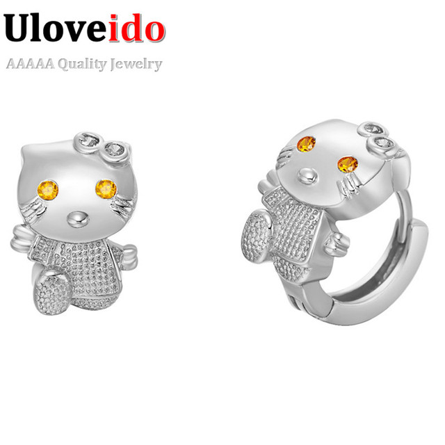 5210008e82039 US $3.75  Wholesale Rose Gold Plated Cute Animal Stud Earrings for Women  Girls Kids Cheap Jewelry Gift Fashion Zirconia Silver Brinco R564-in Stud  ...