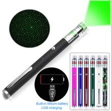 Зеленый лазер ручка зарядка через usb 5 МВт Single Point/звездное шаблон 2018 Новый стиль Перезаряжаемые Lazer указатель зеленый лазер ручка 7 видов цветов