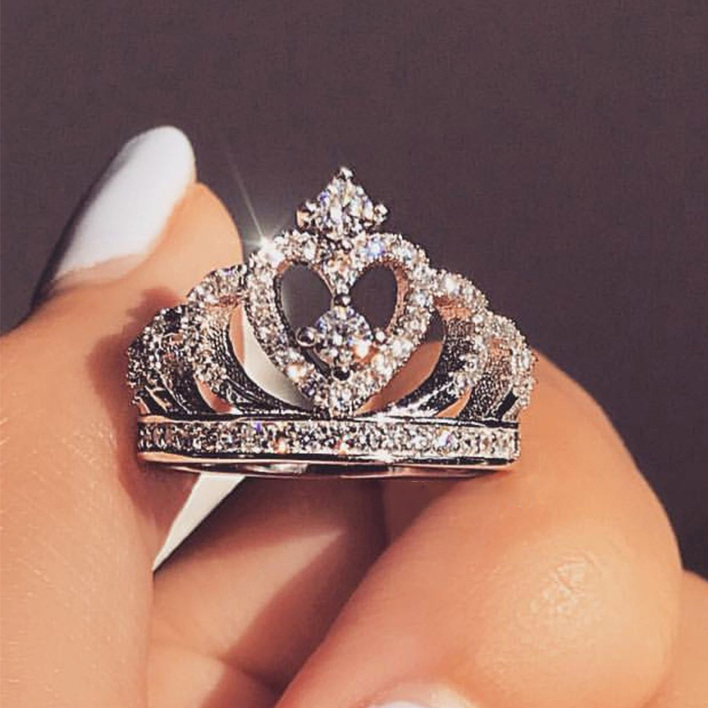 Crown Ring Jewelry Zircon Romantic Crystal Heart Wedding-Party Silver Fashion Women's