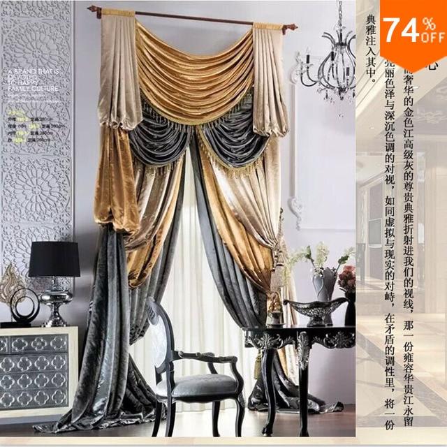 Oro estilo simple cortinas de terciopelo suave jardín Hotel ...